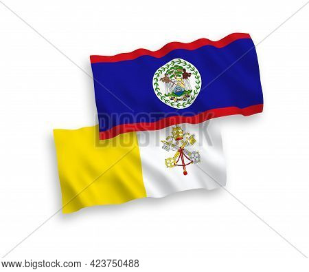 National Fabric Wave Flags Of Belize And Vatican Isolated On White Background. 1 To 2 Proportion.