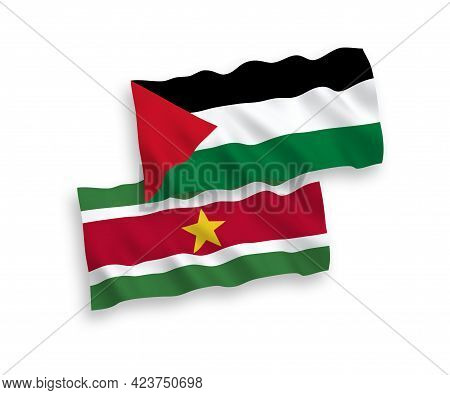 National Fabric Wave Flags Of Republic Of Suriname And Palestine Isolated On White Background. 1 To