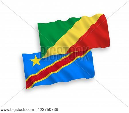National Fabric Wave Flags Of Republic Of The Congo And Democratic Republic Of The Congo Isolated On