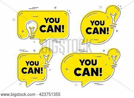 You Can Motivation Message. Idea Yellow Chat Bubbles. Motivational Slogan. Inspiration Phrase. You C