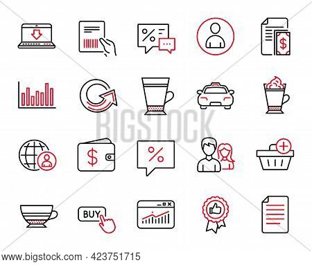 Vector Set Of Line Icons Related To Taxi, Add Purchase And Website Statistics Icons. File, Parcel In