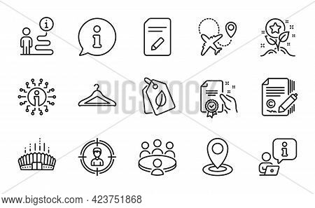 Business Icons Set. Included Icon As Info, Headhunting, Loyalty Points Signs. Bio Tags, Cloakroom, A