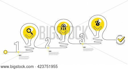 Lightbulb Journey Path Infographics. Business Infographic Template. Timeline With 3 Steps. Workflow