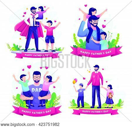 Set Bundle Of Happy Father's Day With Father Playing With His Childrens. Flat Vector Illustration.