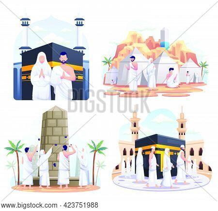 Set Bundle Of Muslim Couple Is Doing Islamic Hajj Pilgrimage. Flat Vector Illustration.