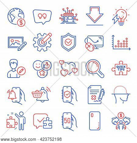 Technology Icons Set. Included Icon As Downloading, Notification Cart, Dot Plot Signs. Heart, Reject