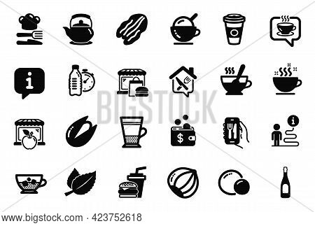 Vector Set Of Food And Drink Icons Related To Peas, Tea Cup And Food Icons. Market, Mint Leaves And