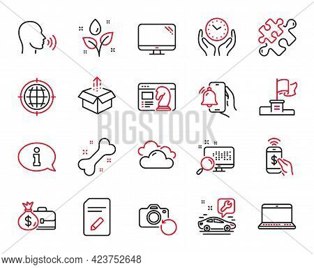 Vector Set Of Business Icons Related To Information, Winner Flag And Dog Bone Icons. Cloudy Weather,