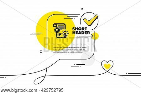 Cogwheel Icon. Continuous Line Check Mark Chat Bubble. Engineering Tool Sign. Idea Bulb Symbol. Cogw