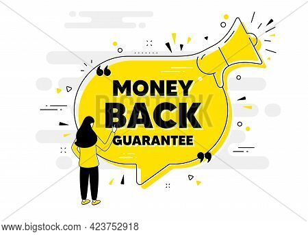Money Back Guarantee. Alert Megaphone Chat Banner With User. Promo Offer Sign. Advertising Promotion