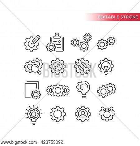 Cogwheel Or Gear With Lightbulb, Pencil Icon Set. Cogs, Cogwheels And People, Clipboard, Settings Or
