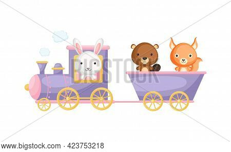 Cute Cartoon Violet Train With Hare Driver And Beaver, Squirrel On Waggon On White Background. Desig