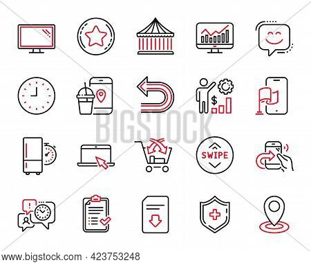 Vector Set Of Technology Icons Related To Time Management, Statistics And Employees Wealth Icons. Lo