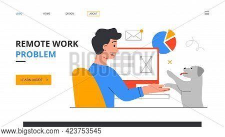 Remote Work Disadvantages. Home Office Problems. Procrastination, Deadline Missing. Freelancer Is Di