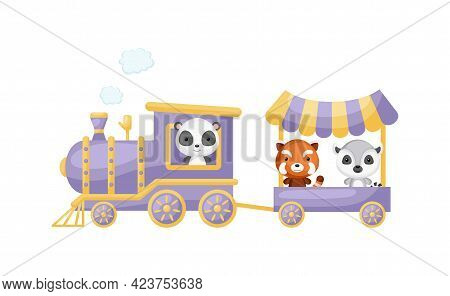 Cute Cartoon Violet Train With Panda Driver And Red Panda, Lemur On Waggon On White Background. Desi