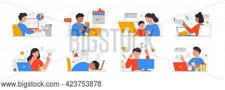 Remote Work Disadvantages Concept. Home Office Problems. Procrastination, Overeating, Deadline Missi