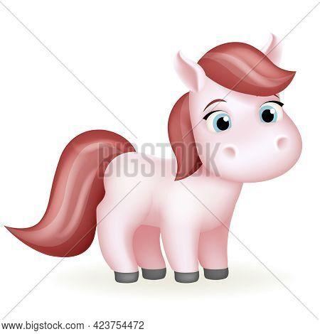 Pony Animal Cute Horse Cartoon Girl Beautiful Isolated 3d Design Vector Illustration