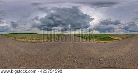 Full Spherical Seamless Panorama 360 Degree Angle View On No Traffic Old Asphalt Road Among Fields W