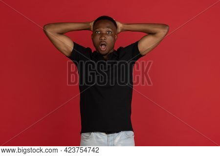 Wow. Beautiful Male Half-length Front Portrait Isolated On Studio Backgroud. Young Emotional Surpris