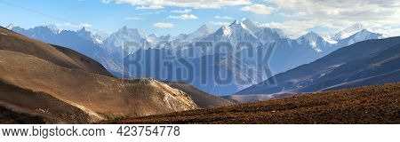 Evening View Of Hindukush Or Hindu Kush Mountain Ridge, Tahikistan And Afghanistan, Wakhan Corridor,