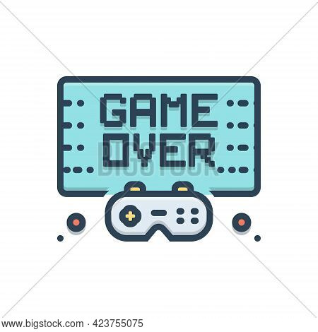 Color Illustration Icon For Gameover Video Videogame Game Finish Technology Controller