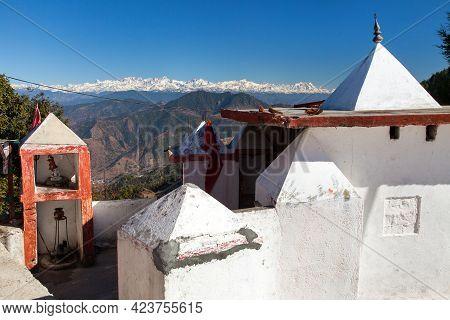 Hindu Temple And Himalaya Mountain, Mussoorie Road, Uttarakhand, India Himalayas Mountains