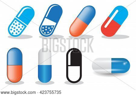 Collection Of Simple Icon Of Medicine Capsule Pills. Medic Vector Illustration