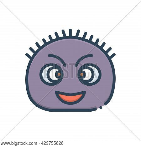 Color Illustration Icon For Fuzzy Frizzy Curly Funny Emoji Ringlety Kinky