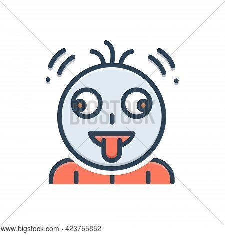 Color Illustration Icon For Fruitloop Emoji Character Tongue Greedy