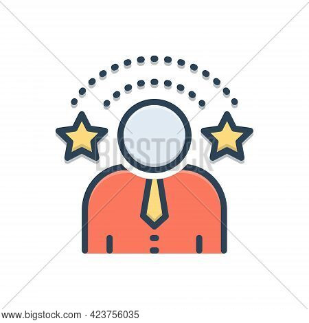 Color Illustration Icon For Exclusivity People Special Eminent Celebrity