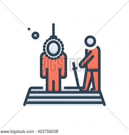 Color Illustration Icon For Executing Death  Punishment Execute Hang