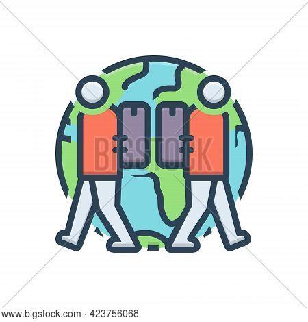 Color Illustration Icon For Expat Expatriate Migrant Diaspora Emigre