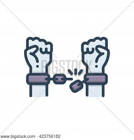 Color Illustration Icon For Emancipating Make-free Set-free Release Acquittal Liberation Disengageme