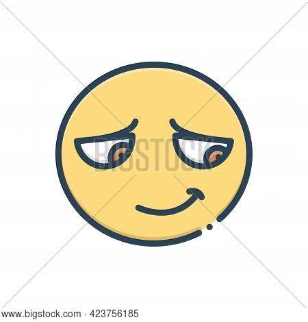 Color Illustration Icon For Embarrassing Shy Shamefaced Emoji Character Shameful Disgraceful
