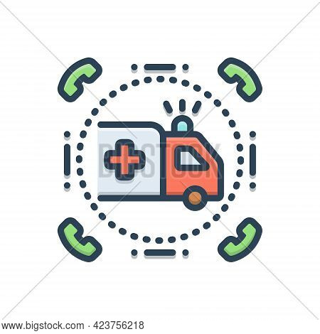 Color Illustration Icon For Emergencies Exigency Necessity Rescue Transportation Ambulance Paramedic