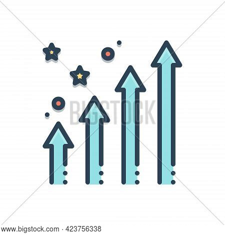 Color Illustration Icon For Enhancing Increase Growth Development Progress
