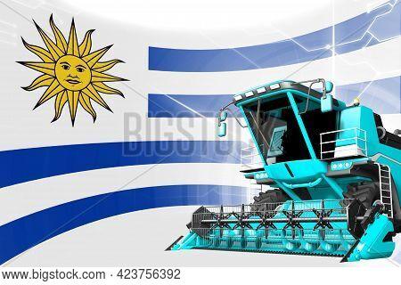 Digital Industrial 3d Illustration Of Blue Advanced Grain Combine Harvester On Uruguay Flag - Agricu