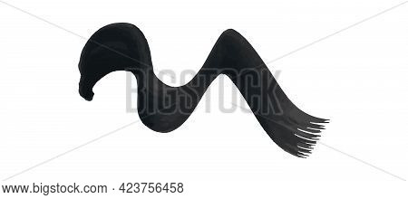 Black Wavy Grunge Brush Stroke. Painted Ink Stripe. Ink Spot Isolated On White Background. Vector Il