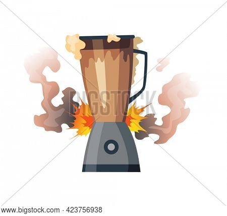 Broken home appliances. Damaged mixer . Domestic icon isolated on white. Burning electronics. Homeappliances or burnt electrical household equipment in fire