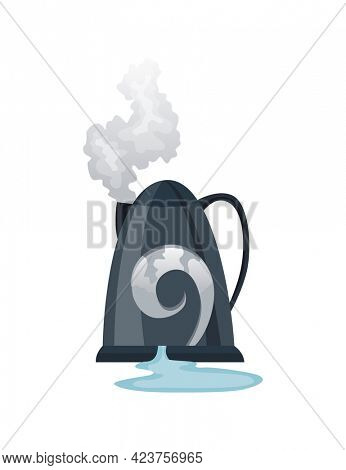 Broken home appliances. Damaged kettle. Domestic icon isolated on white. Burning electronics. Homeappliances or burnt electrical household equipment