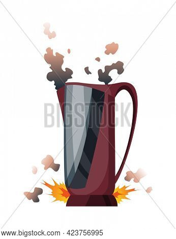 Broken home appliances. Damaged kettle. Domestic icon isolated on white. Burning electronics. Homeappliances or burnt electrical household equipment in fire