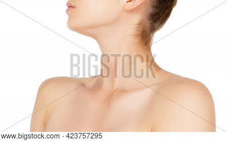 Neck. Close Up Portrait Of Beautiful Albino Female Model. Parts Of Face And Body. Beauty, Fashion, S