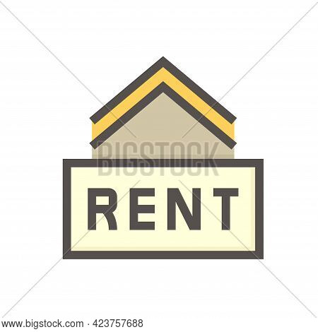House Or Residential Building For Rent Vector Icon. Real Estate Or Property With Home Or House Build