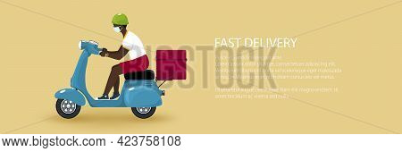 Young African Guy In Protective Face Mask With Thermal Bag For Food Delivery Rides A Scooter, Blue V