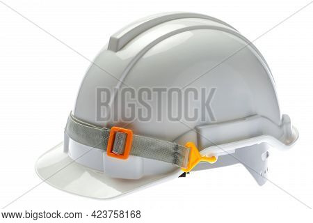 Close Up The White Safety Helmets For Engineer Or Management Or Visitor. Isolated On White Backgroun