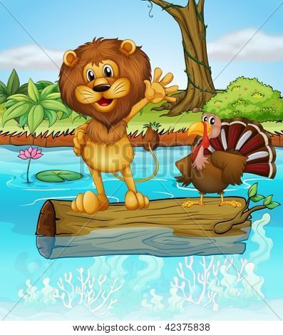 Illustration of a lion and a turkey above a floating wood