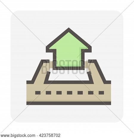 House Building Or Residential In Land Lot And Access Road Vector Icon. That Real Estate Or Property