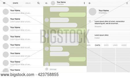 Messenger Desktop Template. Light Mockup With Messenger Interface . Vector Illustration