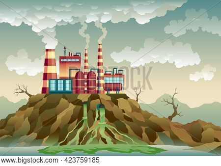 Plant with pipes from which smoke comes out. Trash emission to river water. Landscape with ecological disaster. Nature ecology elements and ecology problem concept in flat style