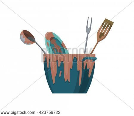 Dirty dishes plates and cups saucepan with remains fat stains. Stack of dirty kitchen utensil and dinnerware flat set for web design. Household and kitchenware concept